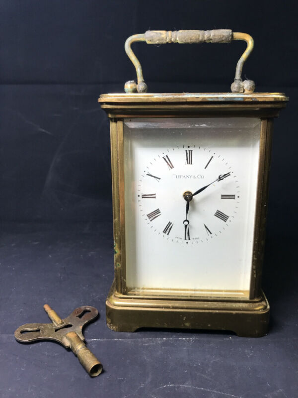 Vintage 1980S Tiffany & Co Brass Mechanical Carriage Clock