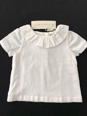 Hucklebones London NWT Baby Girl Ruffle Neck White Blouse. 6 Months