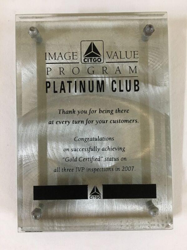 CITGO Gas Station Award Plaque PLATINUM CLUB Beveled Glass & Alloy Counter Sign