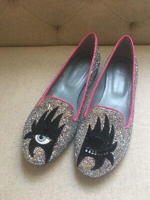 New CHIARA FERRAGNI Women's Ballet Flats Ballerinas New Glitter Silver Shoes 37