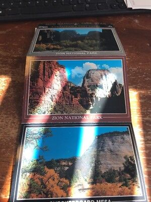 Postcard 115-F Zion National Park 6 Detachable Cards Great Whote Throne Checkerb