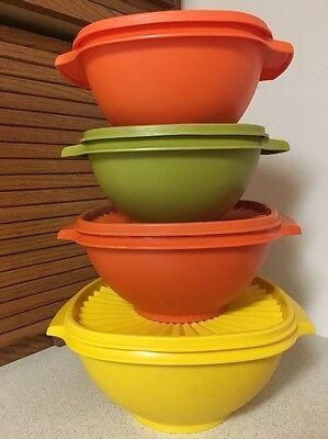 Tupperware Vintage Servalier Bowl set 4 yellow orange green leftovers salads EUC
