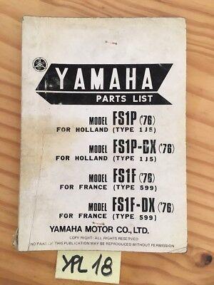 Yamaha 50 FS1P FS1PDX FS1F FS1FDX 1976 catalogue pièces détachées parts list segunda mano  Embacar hacia Spain