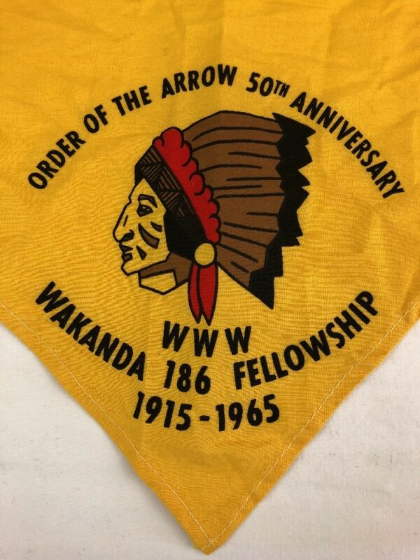 Boy Scouts Wakanda 186 Fellowship BSA Neckerchief Order of the Arrow 50th Annive