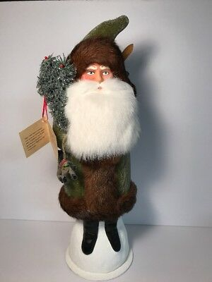 Ino Schaller Santa w/ Green Coat & Real Fur Trim Paper Mache Candy Container