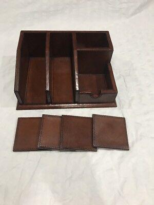 Leather Wood Office Desk Set - Cognac - 12 X 9 X 4.5 - New