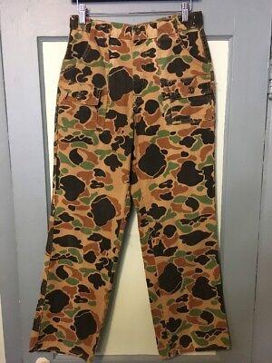 Vtg 70s 80s Deerskin Cotton Flannel Camo Bush Pants Mens 32x32 Hunting 6 Pocket