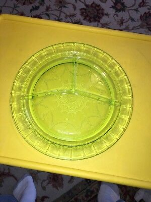 Cameo Green Depression Glass Divided Dinner Plates Ballerina Grill Chop Set Of 3