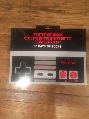 HTF NINTENDO 12 Days of socks ADVENT Mario NES Christmas Calendar Mens sz 6.5-13