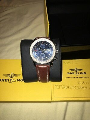 Breitling Navitimer World GMT Steel Blue Dial Brown Strap Watch A24322