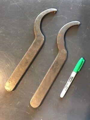 Vintage Large Spanner Hook Wrench Heavy Cast Metal lot of 2 Primitive