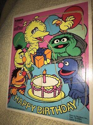 Vintage Sesame Street Playskool Happy Birthday 13 Piece Wood Puzzle Bert Ernie