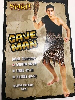 Men Spirit Cave Men Adult Medium Costume animal print Halloween E05