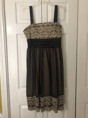 Richards Satin (R&M Richards Black Gold Tulle Satin Dress Size 14)