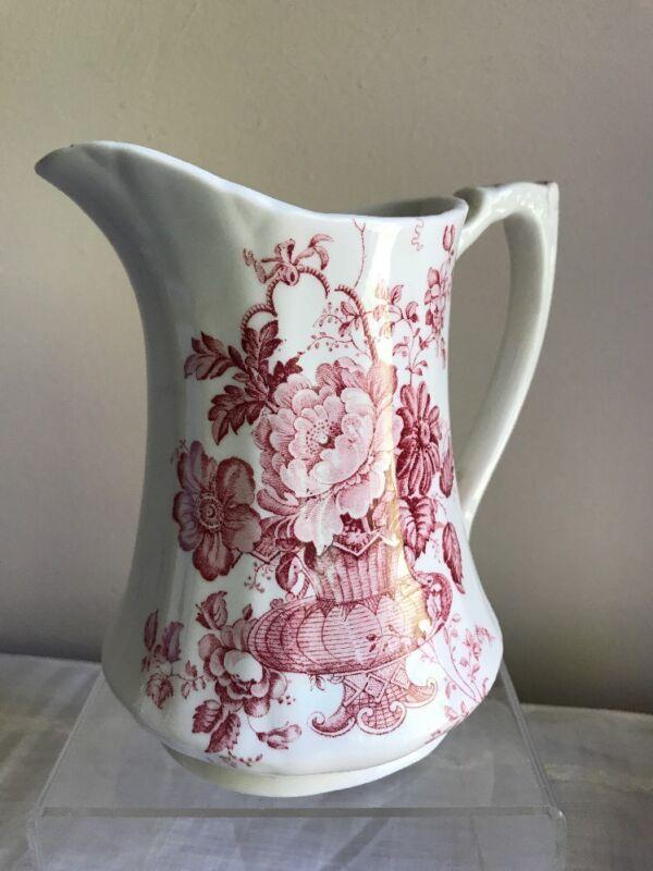 Vintage Alfred Meakin Charlotte Pitcher Pink Transferware Staffordshire England