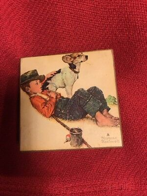 Norman Rockwell Boy & Dog Music Box-Those Were The Days