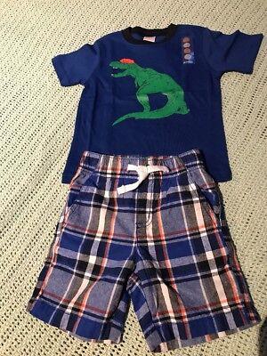 Gymboree Boys T-Rex Dinosaur Plaid Shorts Outfit Size 12-18 Months NWT GYMB3