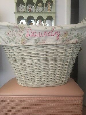 Rachel Ashwell Simply Shabby Chic Pink Roses Wicker Laundry Basket
