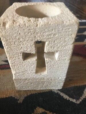 Stone Candle Holder Cross Rustic Western Cowboy