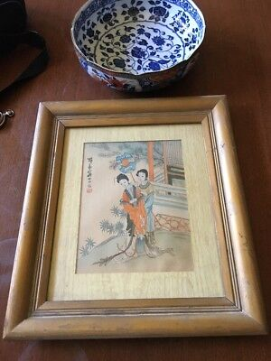 VTG Charming Chinese Hand Painted Watercolor ,Royal Lady 19th/Early 20th