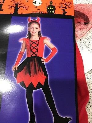 Devil Girl Halloween Costume (#2172 HALLOWEEN CLASSIC DEVIL COSTUME DRESS HORN GLOVES GIRL MEDIUM RED BLK)