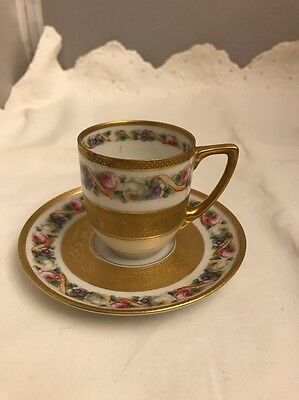 Beautiful Black Knight Gold Encrusted Demitasse Cup   Saucer
