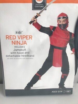 NIP Youth Red Viper Ninja Halloween Costume Large Child Jumpsuit hood headband - Red Viper Ninja Costume