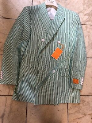 NWT ROYAL DIAMOND 100% Cotton Green/White Seersucker Men Suit Size 46R - Mens Seersucker Suits