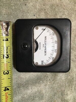 Vtg Panel Meter Boatanchor Transmitter Weston 0-100 Dc Milliamperes Me319