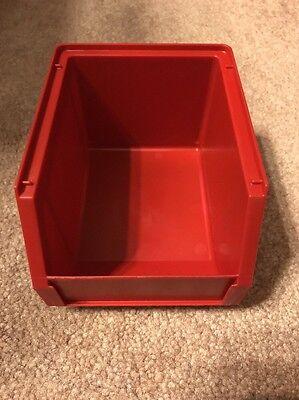 Empak Stackable Bin-5 Parts Storage Organizer Bin Red 5x3x3.5