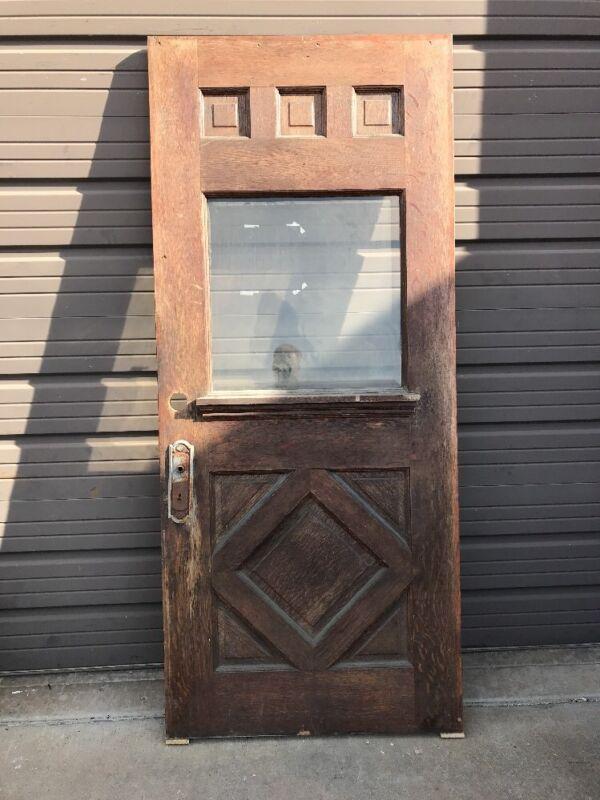 An 457 Antique Quartersawn Oak Beveled Entry Door 35.75 X 83