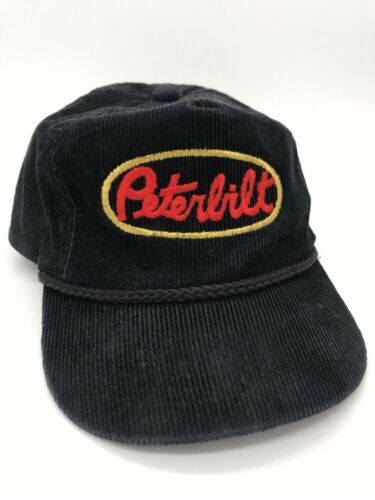 Vintage Peterbilt Black Corduroy Hat- Snapback Tru