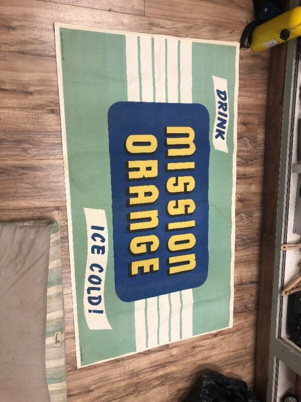 LARGE 40s VINTAGE NOS DRINK ICE COLD MISSION ORANGE CANVAS BANNER/SIGN--33X58!!