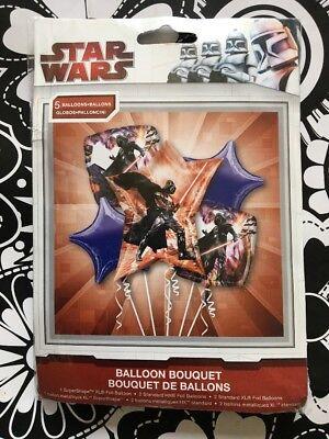 STAR WARS, DARTH VADER Foil Balloon Bouquet 5pc, Anagram Birthday Party Supplies ()