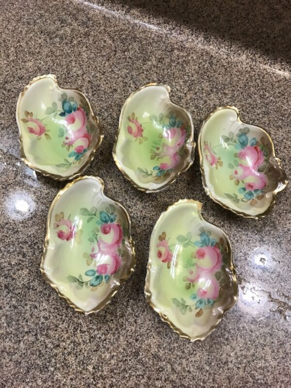 5 Porcelain hand painted green pink roses gold Gilt Oyster Shooters