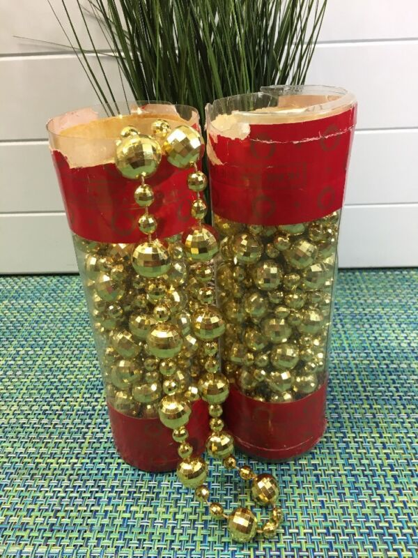 Two 15 Ft Vintage Christmas Gold Faceted Plastic Beaded Garland