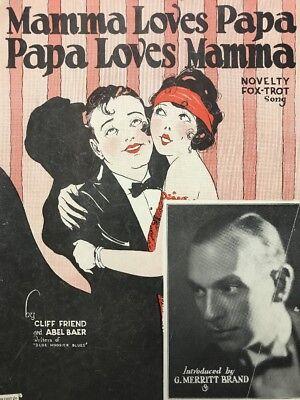 Antique Vtg Sheet Music Art Deco Wall Art Roaring 20's Flapper Girl & Man Tuxedo