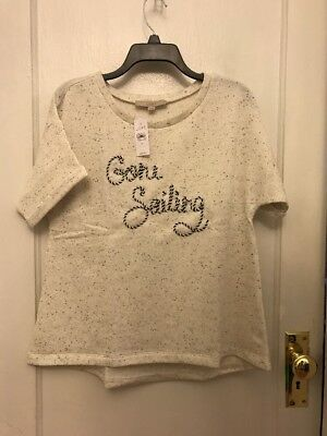 ANN TAYLOR LOFT WOMENS GONE SAILING SWEATSHIRT M MEDIUM SHIRT NWT