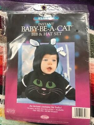 Baby Halloween Costumes Caterpillar (Instant Baby-Be-A-Cat Halloween Costume Bib & Hat Set NIP Sealed Infant)