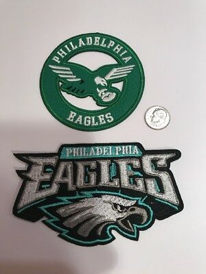 "(2) Philadelphia Eagles Vintage Embroidered Iron On Patches Patch Lot  3"" & 4.5"""