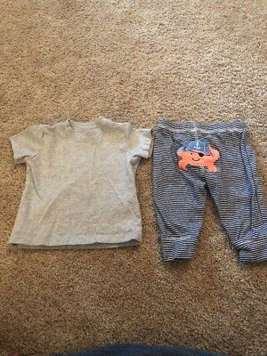 Carters Infant Boys Gray Blue Crab Two Piece Outfit 3 Months Blue Infant Two Piece