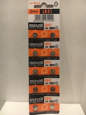 10 NEW MAXELL LR41 AG3 392A 192 SR41 LR736 Cell Batteries Button Watch Alkaline