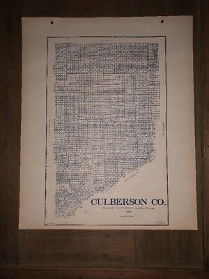 1908 CULBERSON COUNTY TEXAS MAP LAND OFFICE AUSTIN BLUE LINE ANTIQUE VINTAGE