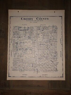 1927 CROSBY COUNTY TEXAS MAP LAND OFFICE AUSTIN BLUE LINE ANTIQUE VINTAGE