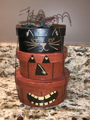 Vintage Folk Art Painted Oval Boxes Pumpkin Face & Black Cat W/ Wire Primitive - Black Cat Halloween Face Paint