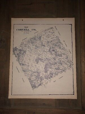 1896 CORYELL COUNTY TEXAS MAP LAND OFFICE AUSTIN BLUE LINE ANTIQUE VINTAGE