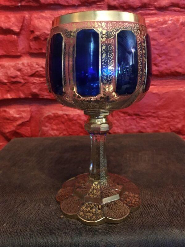 ANTIQUE 19thC BOHEMIAN MOSER BLUE CABOCHON GOLD GILT GOBLET WINE GLASS - SFD