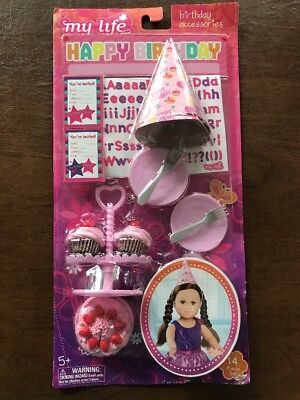 """NEW My Life As Doll Birthday Party 14pc Accessories Set FOR 18"""" DOLL"""