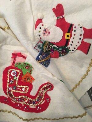 Vintage 50s Handmade Christmas Tree Felt Skirt Santa Reindeer Sequins Beads Kit