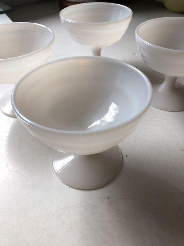 Four Hazel Atlas Moderntone White Milkglass Sherbet Cups
